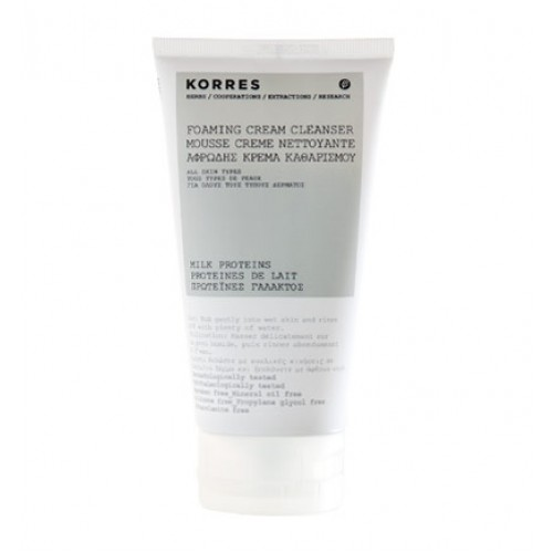 Korres milk proteins gentle cream foaming cleanser, korees natural face care.